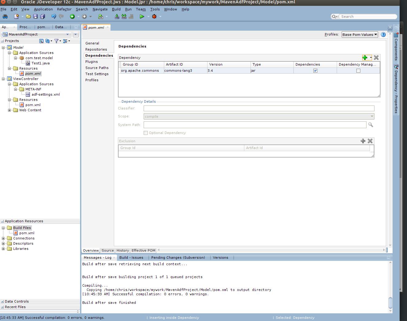 Maven ADF JDeveloper add dependency from repository